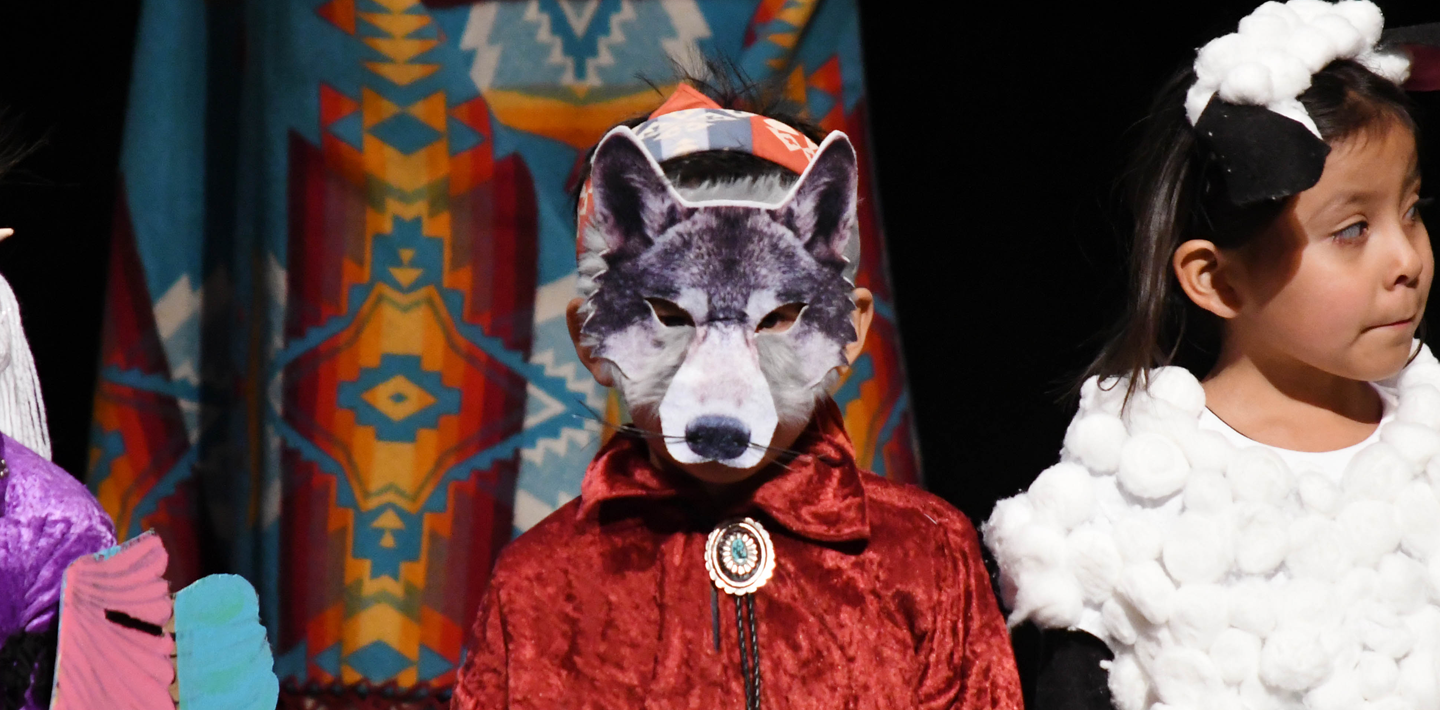 EBS student wearing a wolf mask